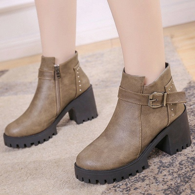 Zipper Daily Round Toe Buckle Chunky Heel Boots_5