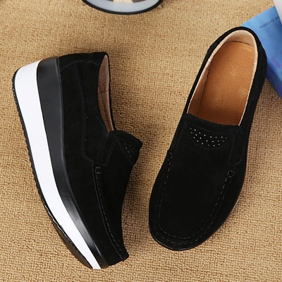 Wedge Heel Daily Round Toe Casual Loafers_12