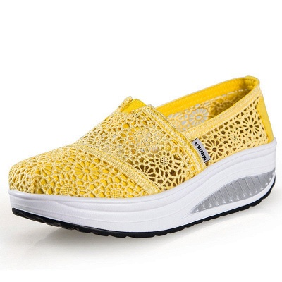 Lace Daily Breathable Fabrics Summer Round Toe Loafer Shoes_4