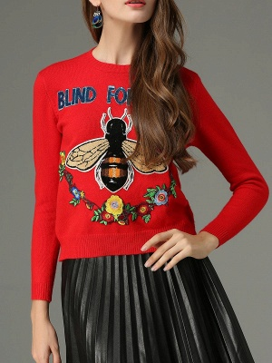 Red Animal Long Sleeve Knitted Embroidered Sweater_1
