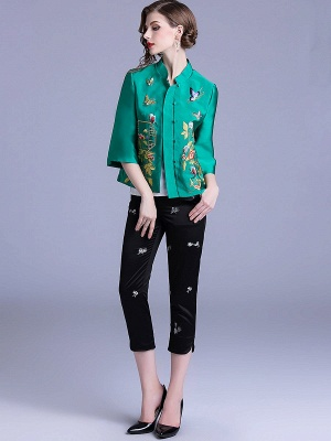 Vintage Buttoned Embroidered 3/4 Sleeve Coat_7