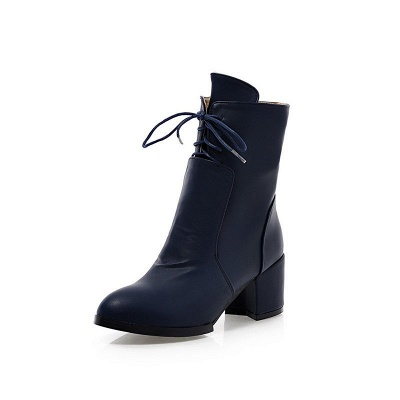 Chunky Heel Lace-up Working Pointed Toe Suede Boots_9