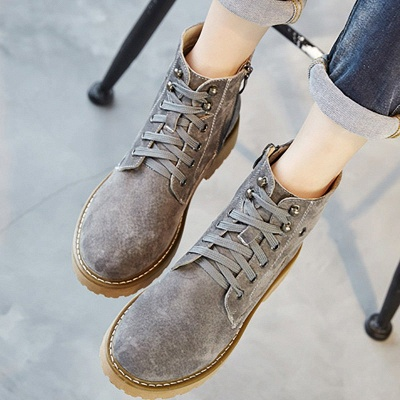 Leather Chunky Heel Lace-up Round Toe Boots_8