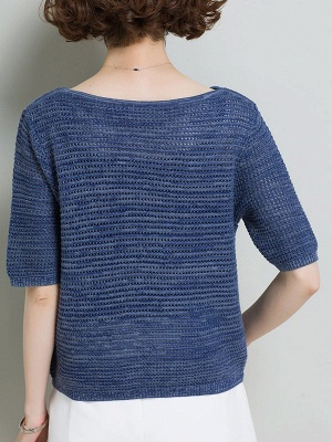 Casual Solid Crew Neck Half Sleeve Ice Yarn Knitted Sweater_5