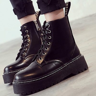 Platform Lace-up Round Toe Boots_1