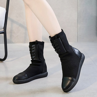Platform Lace-up Round Toe Boots_6