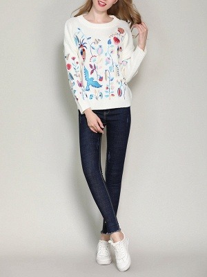 Long Sleeve Embroidered Casual Sweater_5