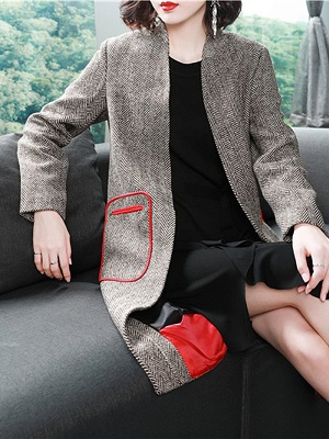 Shift Long Sleeve Pockets Solid Coat_1