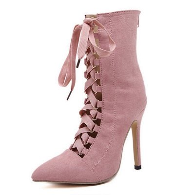 Lace-up Stiletto Heel Daily Elegant Pointed Toe Boots_1