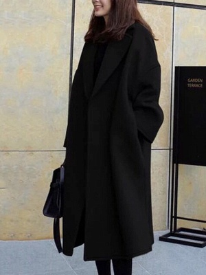 Easy Matching Casual Long sleeve Slit Cotton Solid Coat_1