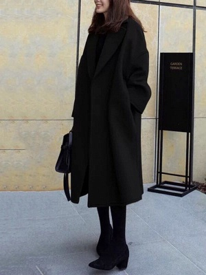 Easy Matching Casual Long sleeve Slit Cotton Solid Coat_10