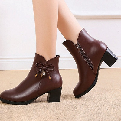 Bowknot Daily Chunky Heel Pointed Toe Zipper Elegant Boots_1