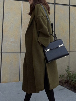 Easy Matching Casual Long sleeve Slit Cotton Solid Coat_4