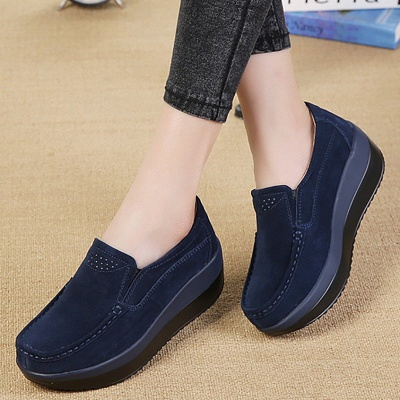 Wedge Heel Daily Round Toe Casual Loafers_2