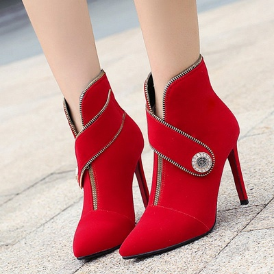 Zipper Daily Stiletto Heel Suede Pointed Toe Elegant Boots_1