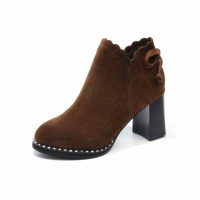 Suede Bowknot Zipper Boots_8
