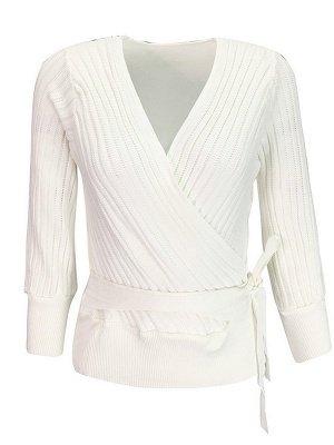 Casual Long Sleeve Shift V neck Sweater_1