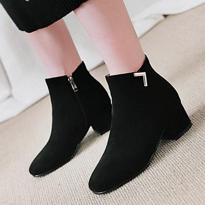 Zipper Chunky Heel Suede Boots