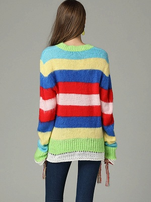 Multicolor V neck Cotton Long Sleeve Sweater_3