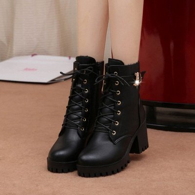Lace-up Chunky Heel Round Toe Buckle Elegant Boots_5