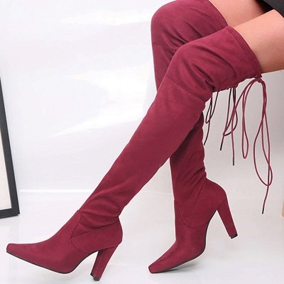 Chunky Heel Lace-up Daily Pointed Toe Elegant Boots_1