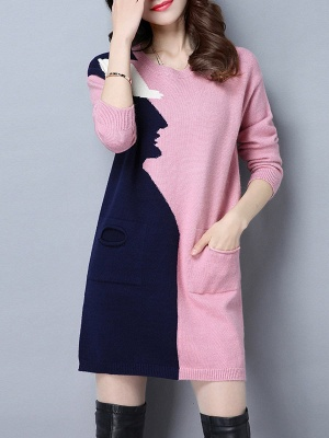 Casual Graphic Long Sleeve Color-block Sweater_1