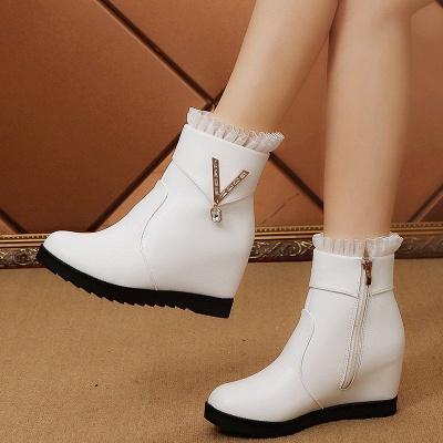 Rhinestone Round Toe Zipper Elegant Wedge Heel Boots_5