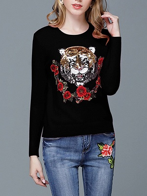 Animal Casual Long Sleeve Sweater_3