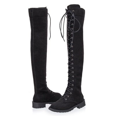 Lace-up Daily Chunky Heel Suede Fall Round Toe Boot_12