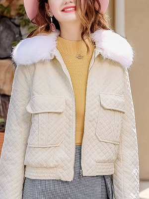 Long Sleeve Casual Paneled Shawl Collar Pockets Zipper Fluffy  Coat_3
