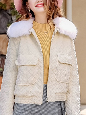 Long Sleeve Casual Paneled Shawl Collar Pockets Zipper Fluffy  Coat_2