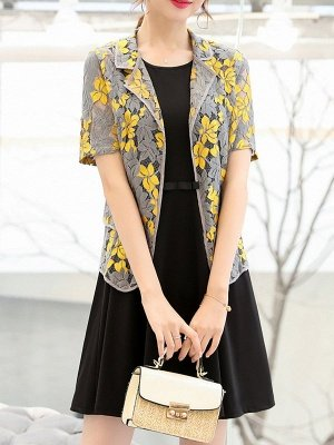 Yellow Short Sleeve Floral Guipure lace Coat_5