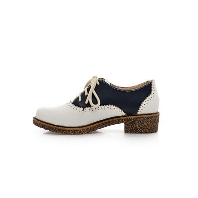 Lace-up Daily Chunky Heel Color Block Oxfords_6