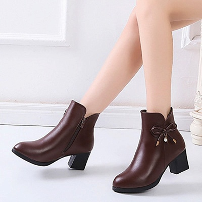 Bowknot Daily Chunky Heel Pointed Toe Zipper Elegant Boots_5