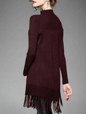 Burgundy Geometric Sheath Casual Sweater_3