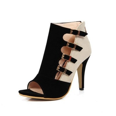 Suede Cone Heel Zipper Lace-up Peep Toe Boots_3