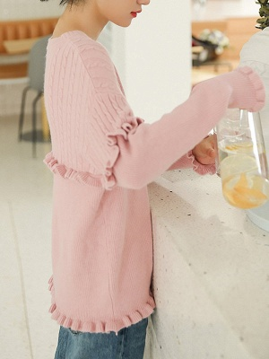 Crew Neck Casual Solid Long Sleeve Sweater_7