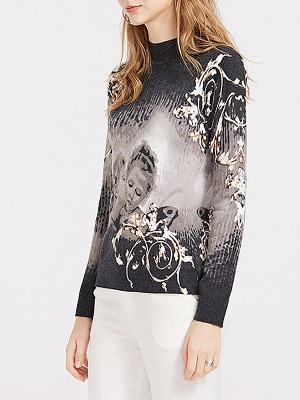 Black Casual Printed Long Sleeve Sweater_6
