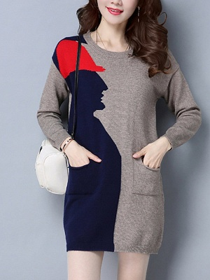 Casual Graphic Long Sleeve Color-block Sweater_3