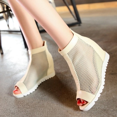 Zipper Daily Peep Toe Wedge Heel Boots_4