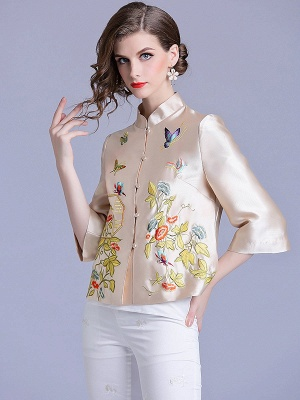Vintage Buttoned Embroidered 3/4 Sleeve Coat_6