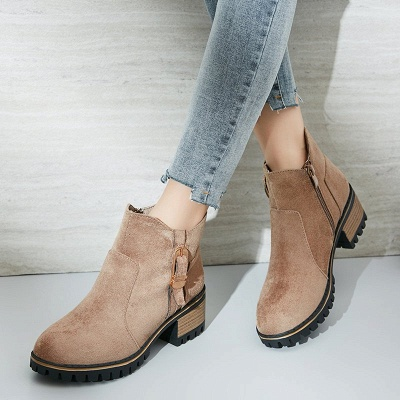 Buckle Chunky Heel Daily Round Toe Zipper Boots_9