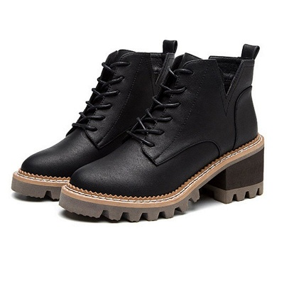 Daily Lace-up Chunky Heel Round Toe Boots_2