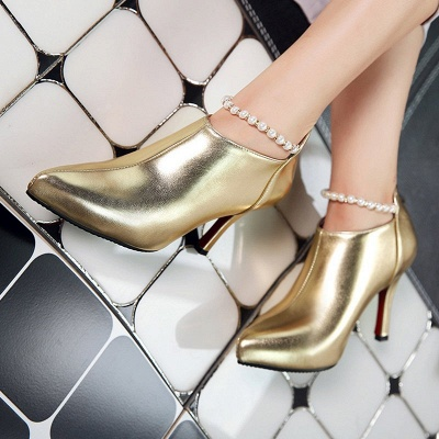 Silver Zipper Daily Elegant Stiletto Heel Pointed Toe Boots_7