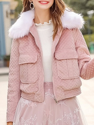 Long Sleeve Casual Paneled Shawl Collar Pockets Zipper Fluffy  Coat_1