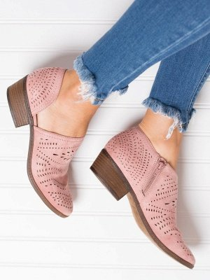 Hollow-out Low Heel Summer Faux Suede Boot_4