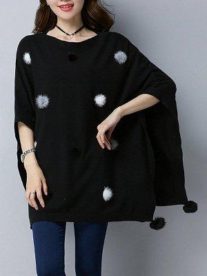 Wool Shift Casual Batwing Sweater_7