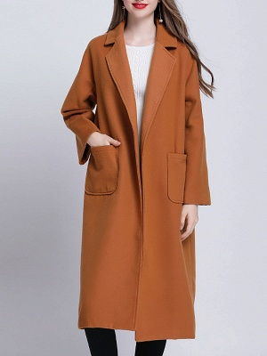 Brown Pockets Shift Solid Casual Long Sleeve Coat_1