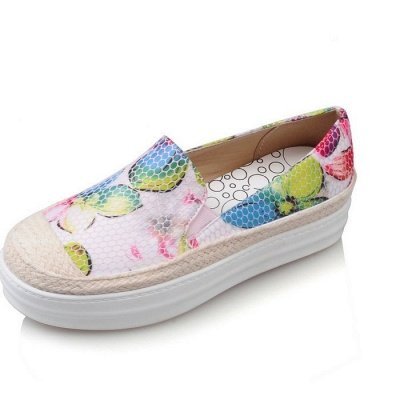 Floral Print Daily Round Toe Wedge Loafers_8