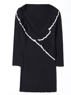 Plain Half Sleeve Casual V neck Paneled Sweater_2